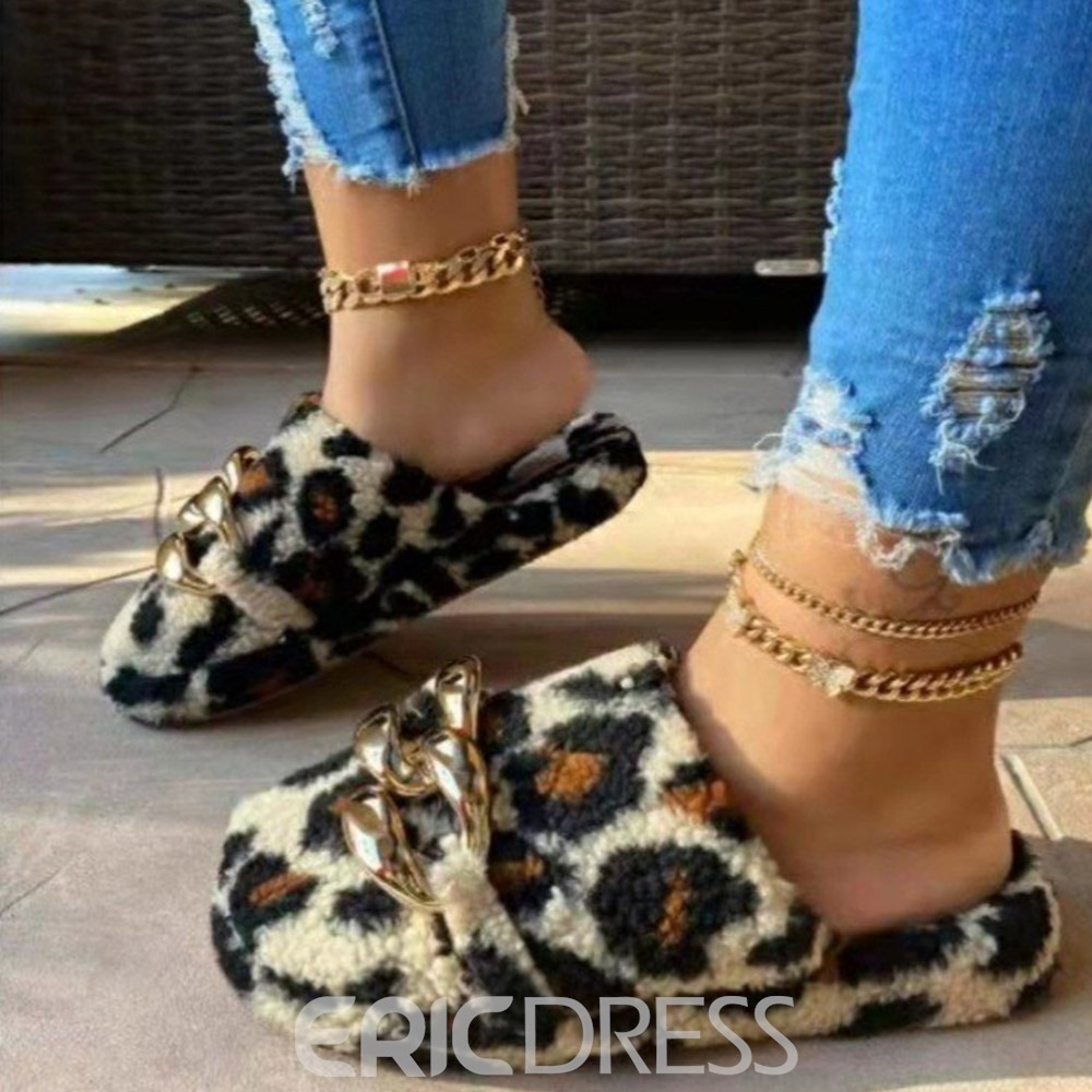 Ericdress Faux Fur Slip-On Flat With Sequin Fall Slippers