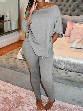 Ericdress Plain T-Shirt Backless Pencil Pants Pullover Two Piece Sets