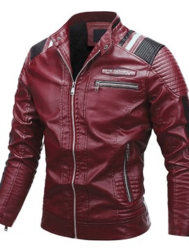 Ericdress Standard Stand Collar Color Block Winter Patchwork Leather Jacket