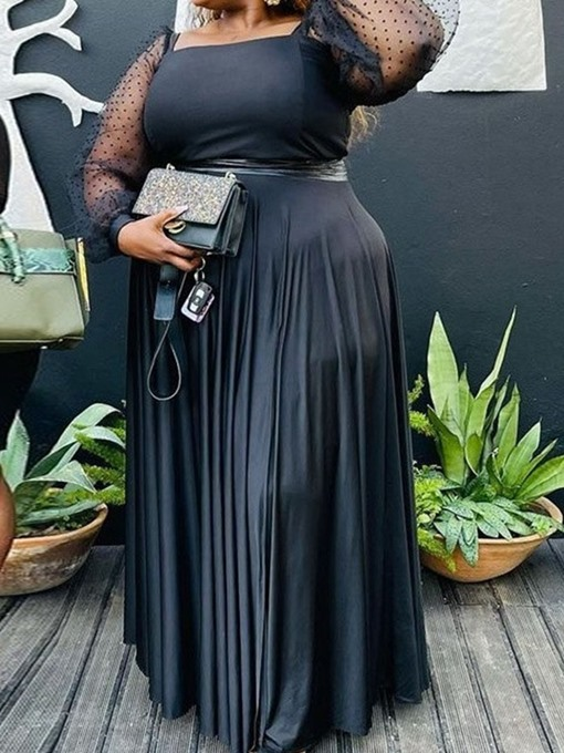 Ericdress Plus Size Square Neck Long Sleeve Floor-Length Fall Pleated Dress