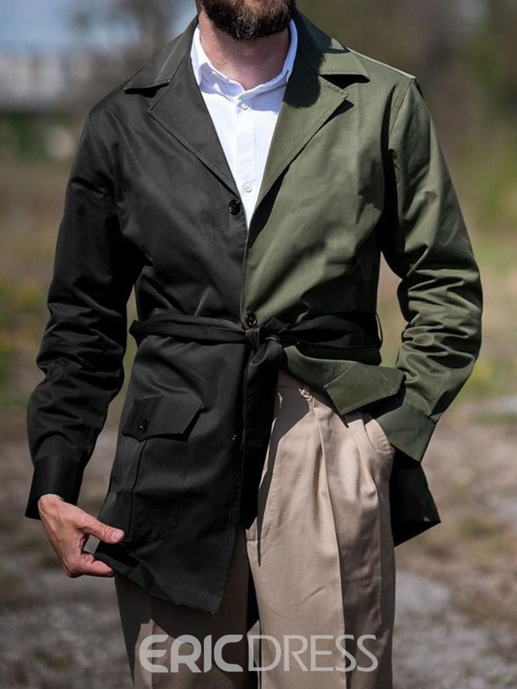 Ericdress Color Block Mid-Length Patchwork Single-Breasted Fall Trench Coat