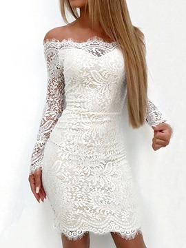Ericdress Above Knee Long Sleeve Lace Pullover Summer Dress