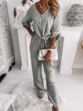 Ericdress Plain Pants Button Single-Breasted V-Neck Two Piece Sets