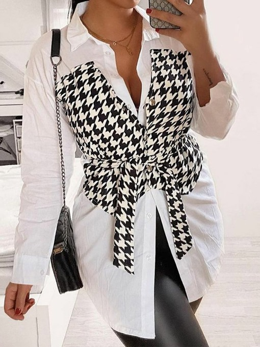 Ericdress Regular Lace-Up Color Block Long Sleeve Mid-Length Blouse