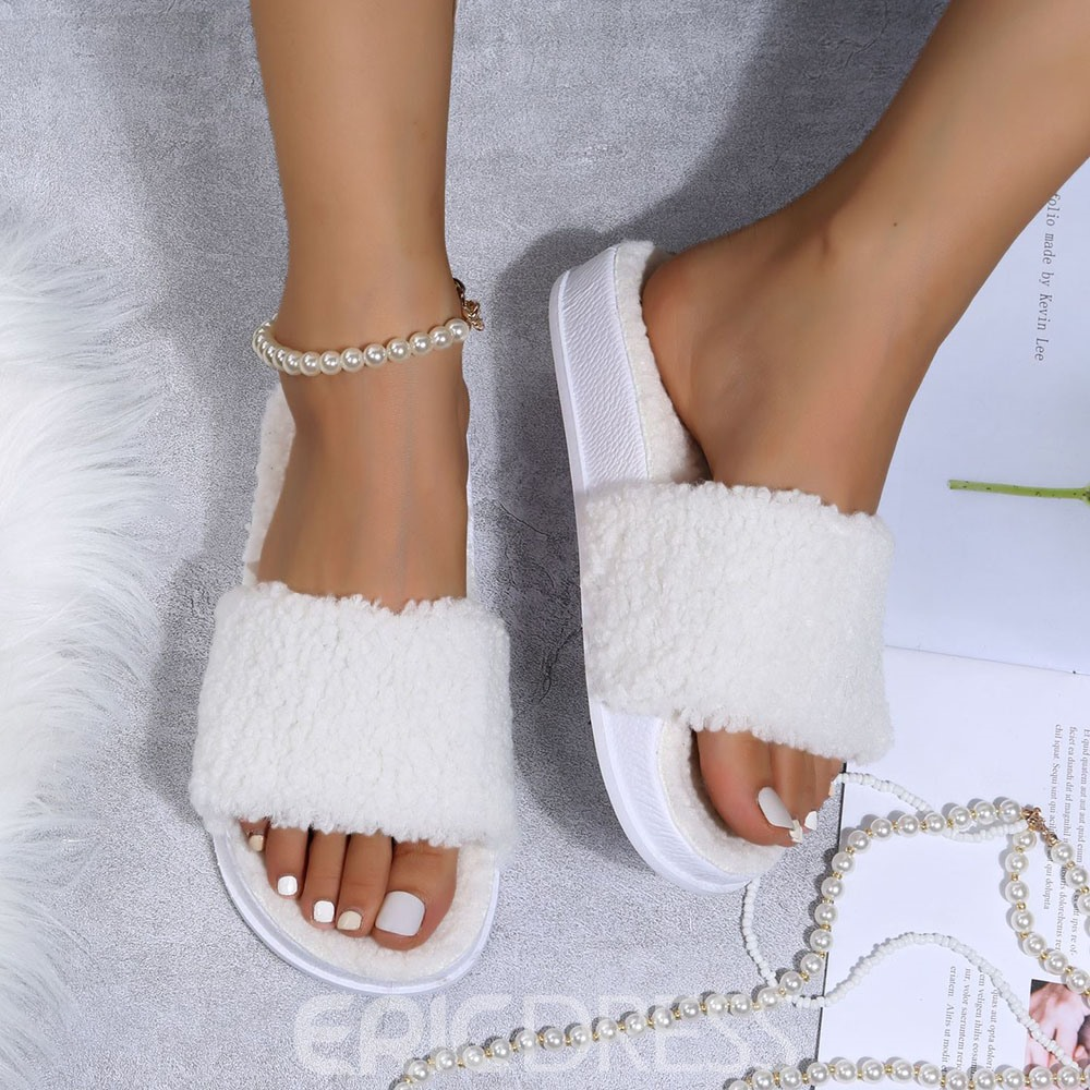 Ericdress Faux Fur Color Changing Flat With Slip-On Flip Flop Casual Slippers