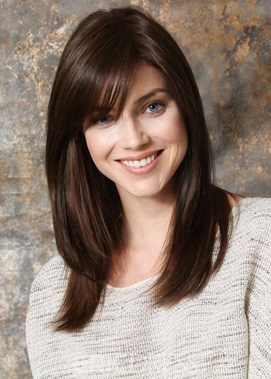 Ericdress Medium Hairstyles Women's Natural Looking Straight Synthetic Hair Capless Wigs With Bangs 20Inch