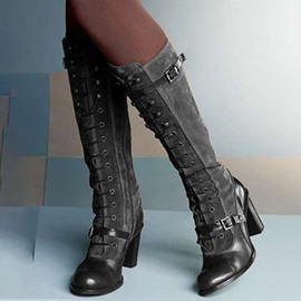 Ericdress Chunky Heel Plain Lace-Up Front Short Floss Boots