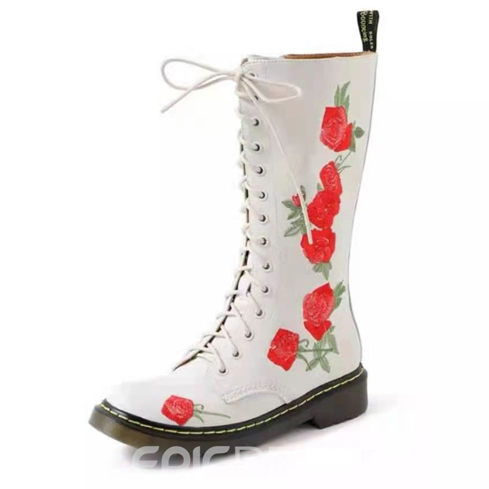 Ericdress Vintage Floral Round Toe Chunky Heel Western Boots