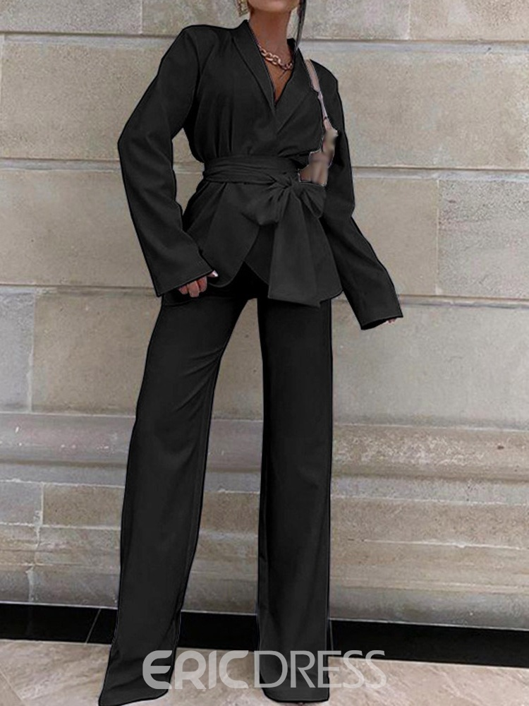 Ericdress Fashion Lace-Up Pants Long Sleeve Full Length Suit