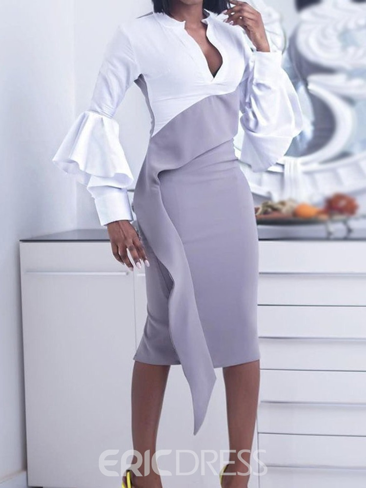 Ericdress Long Sleeve Mid-Calf Stand Collar Spring Pullover Dress