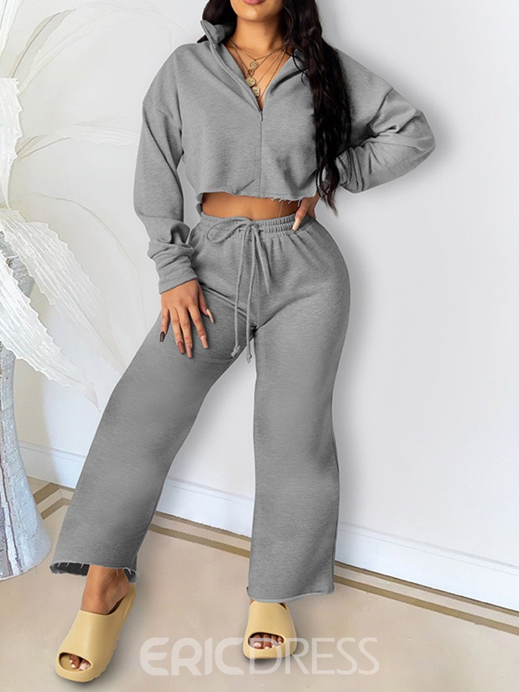 Ericdress Fashion Lace-Up Pants Straight Pullover Two Piece Sets