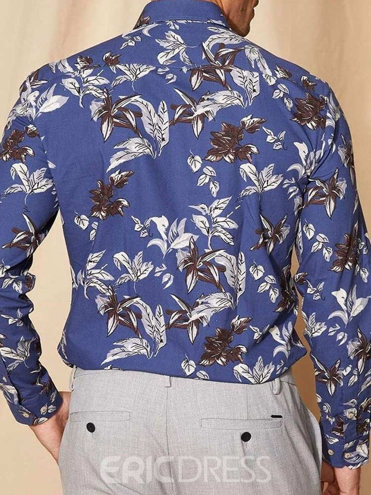 Ericdress Plant Print Lapel Single-Breasted Spring Shirt