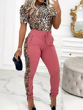 Ericdress Leopard Pants Fashion Round Neck Pullover Two Piece Sets