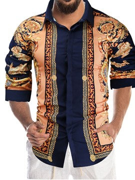 Ericdress African Dashiki Floral Print Lapel Single-Breasted Fall Shirt