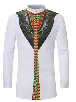 Ericdress African Dashiki Patchwork Ethnic Stand Collar Single-Breasted Fall Shirt