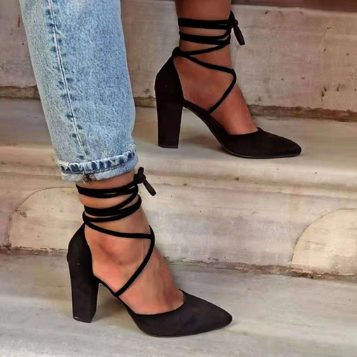 Ericdress Chunky Heel Lace-Up Pointed Toe Western Sandals