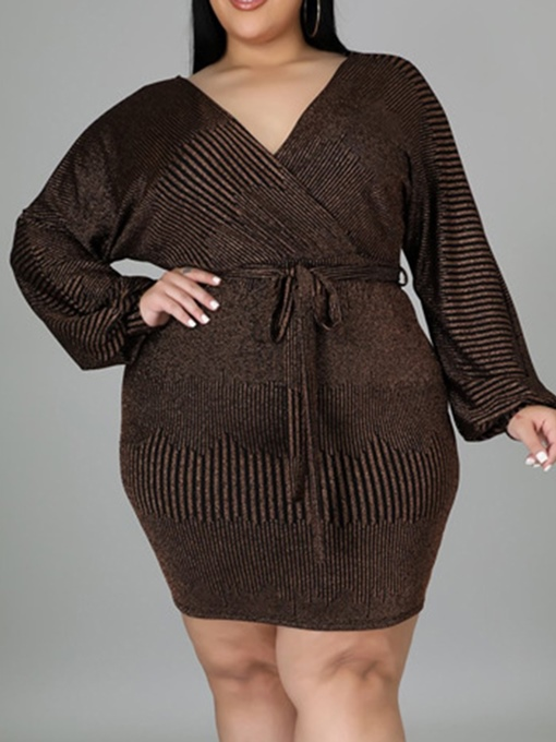 Ericdress Plus Size Long Sleeve Above Knee Lace-Up Bodycon Fashion Dress