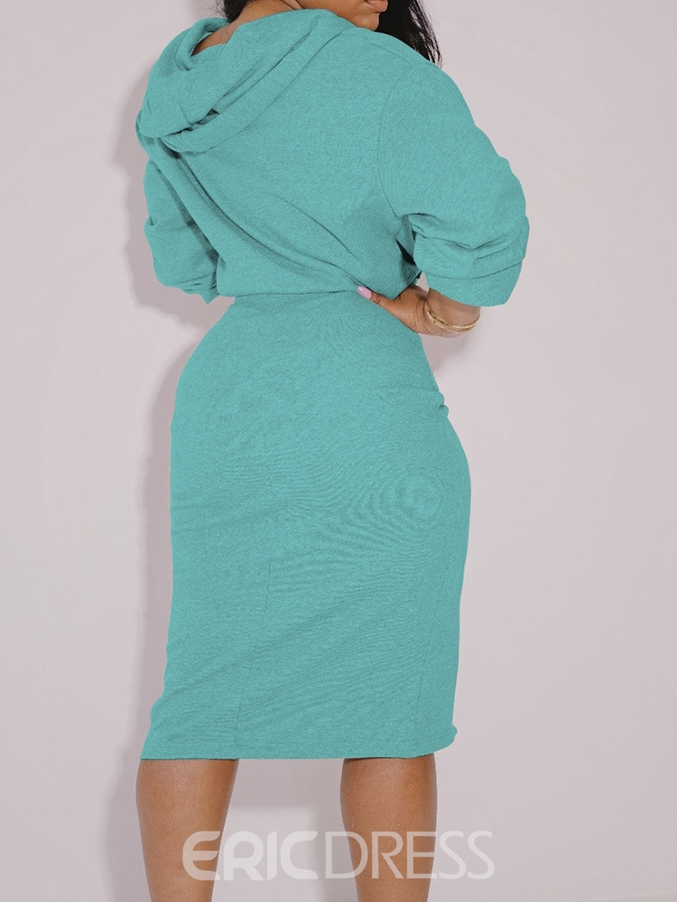 Ericdress Pleated Skirt Plain Bodycon Hooded Two Piece Sets