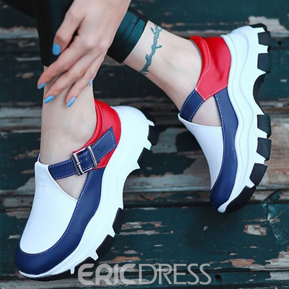 Ericdress Round Toe Thread Buckle Patchwork Thin Shoes