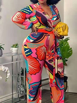 Ericdress Geometric Pants Sexy Straight V-Neck Two Piece Sets