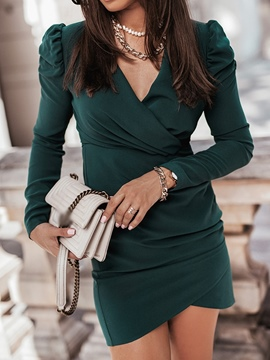 Ericdress Pleated Above Knee V-Neck Bodycon Pullover Dress