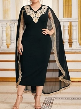 Ericdress V-Neck Embroidery Long Sleeve Pullover Color Block Dress