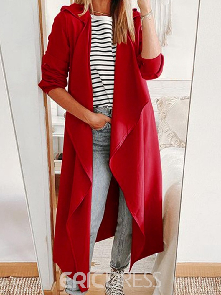 Ericdress Long Wrapped Simple Long Sleeve Trench Coat