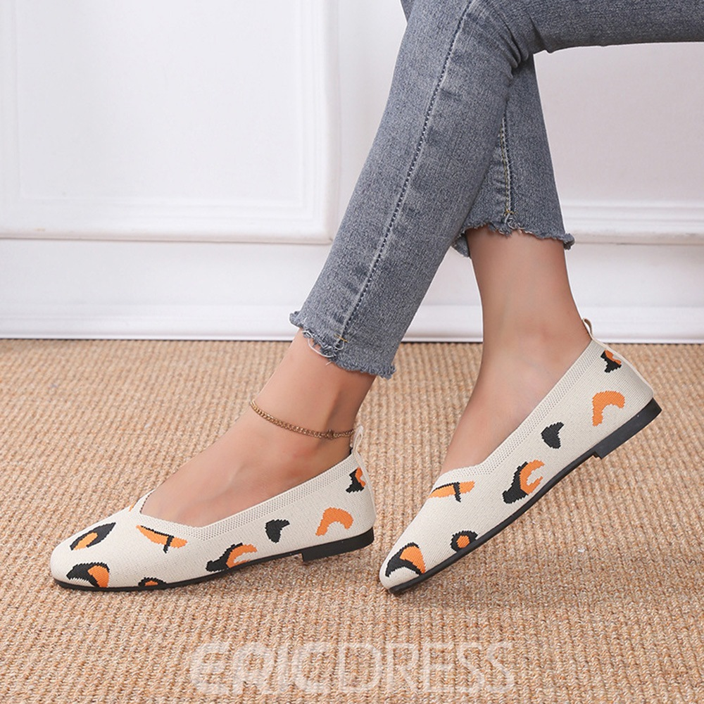 Ericdress Embroidery Round Toe Slip-On Color Block Thin Shoes