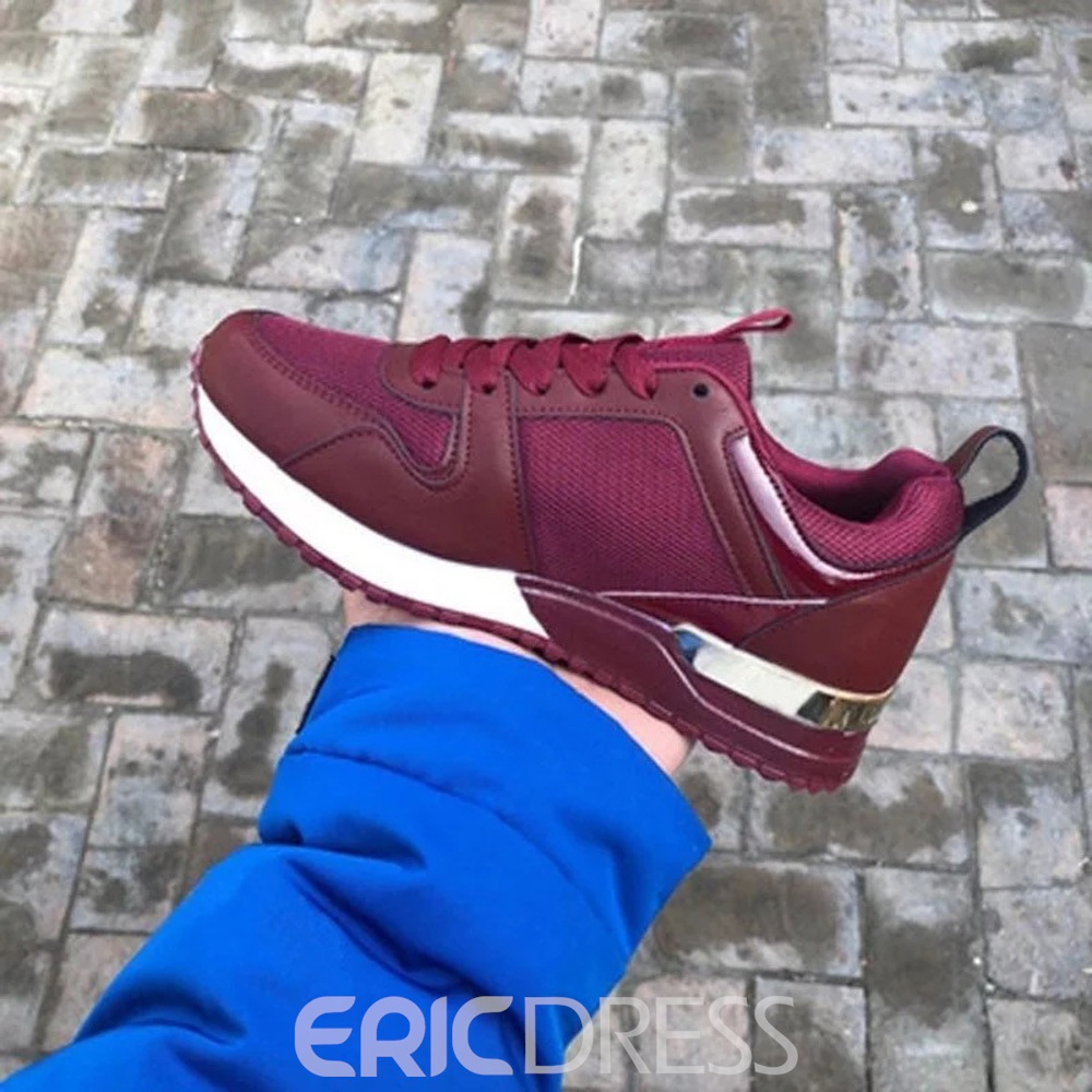 Ericdress Round Toe Lace-Up Lace-Up Color Block Sneakers