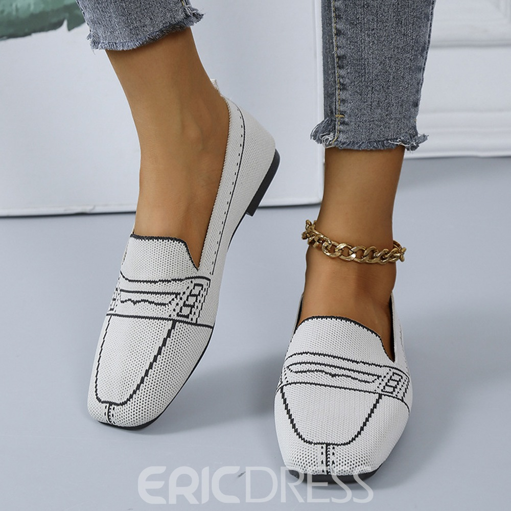 Ericdress Thread Round Toe Flat With Color Block Thin Shoes