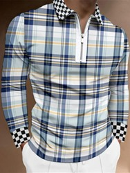 Ericdress Casual Patchwork Plaid Polo Shirt
