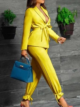 Ericdress Blazer Lace-Up Fashion Long Sleeve Ankle Length Suit