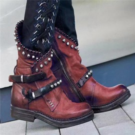 Ericdress Vintage Patchwork Side Zipper Round Toe Western Boots