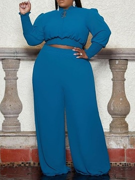 Ericdress Plus Size T-Shirt Western Plain Pullover Straight Casual Two Piece Sets