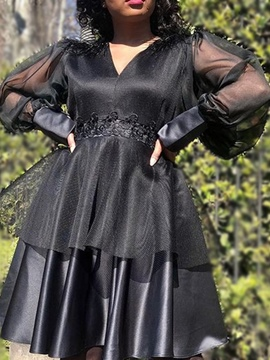 Ericdress Plus Size V-Neck Patchwork Long Sleeve Fashion Fall Dress