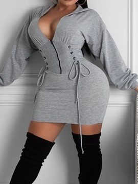 Ericdress Long Sleeve Above Knee Hooded Bodycon Pullover Dress