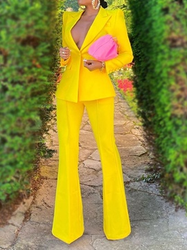 Ericdress Button Formal Pants Long Sleeve Full Length Suit
