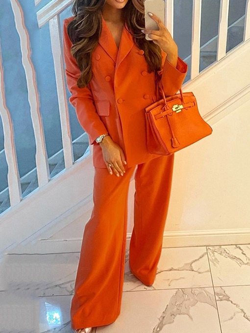 Ericdress Pants Button Formal Long Sleeve Full Length Suit