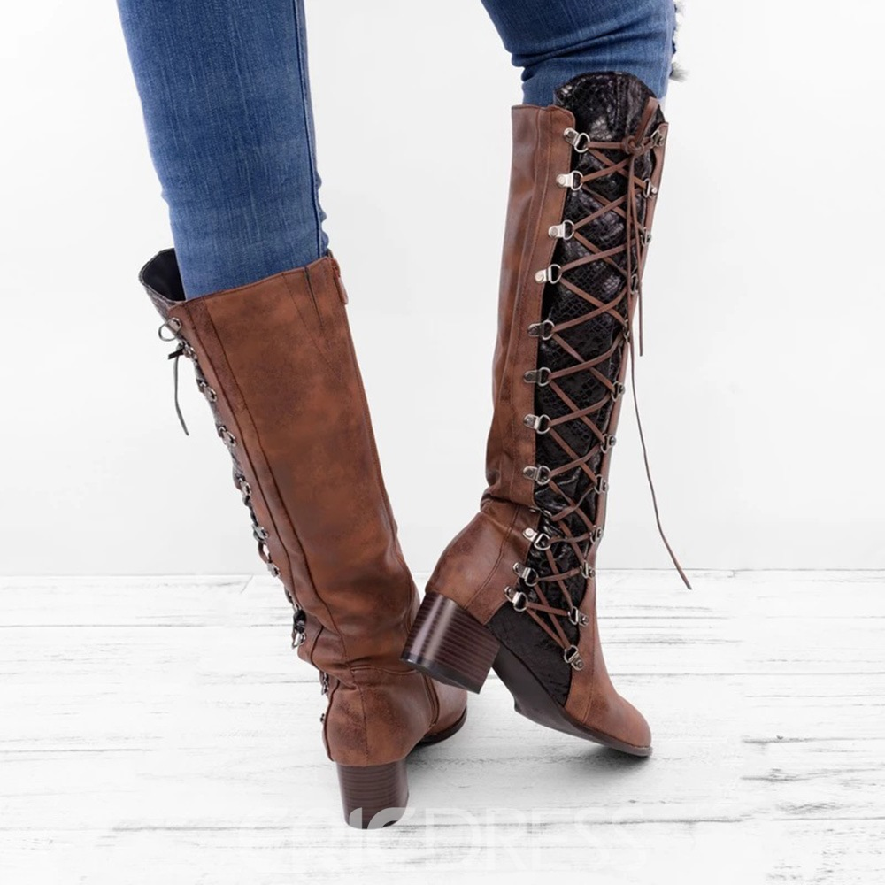 Ericdress Chunky Heel Color Block Round Toe Lace Up Boots