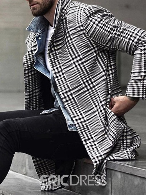 Ericdress Lapel Mid-Length Houndstooth Winter Single-Breasted Coat