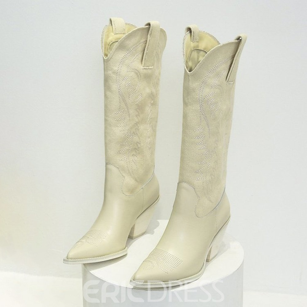 Ericdress Vintage Chunky Heel Pointed Toe Slip-On Western Boots