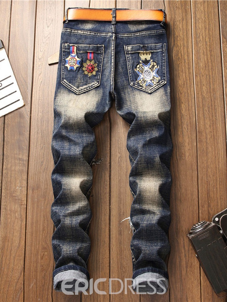 Ericdress Embroidery Straight Zipper Casual Jeans
