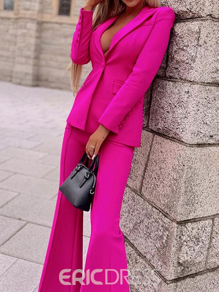 Ericdress Fashion Pants Button Long Sleeve Full Length Suit