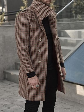 Ericdress Mid-Length Lapel Houndstooth Straight Fall Coat