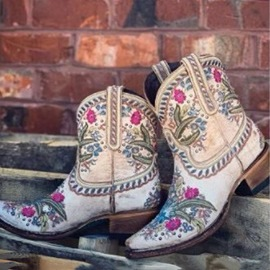 Ericdress Vintage Pointed Toe Floral Slip-On Professional Boots