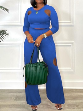 Ericdress Hollow Plain Ladylike Round Neck Straight Two Piece Sets