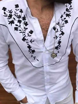 Ericdress Floral Lapel Slim Single-Breasted Casual Shirt