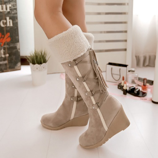 Ericdress Side Zipper Round Toe Wedge Heel Lace-Up Winter Boots