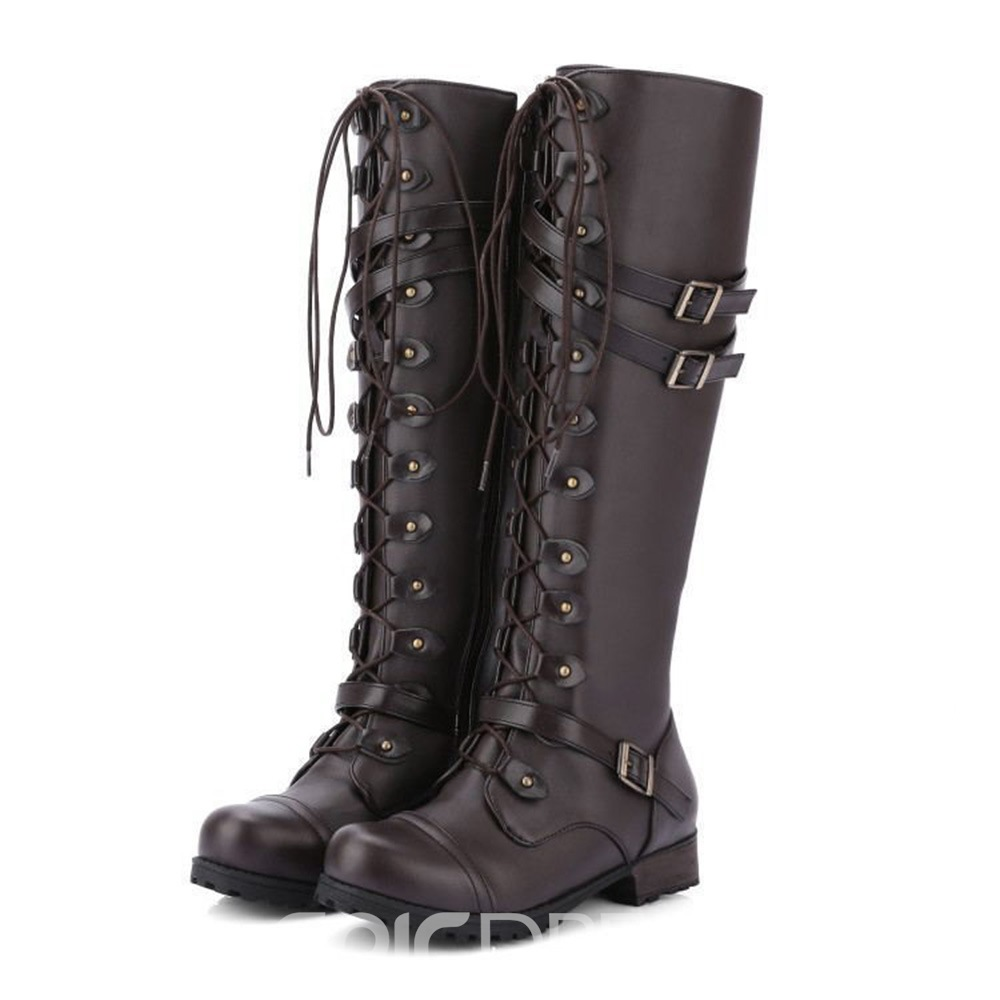 Ericdress Plain Side Zipper Round Toe Western Lace Up Boots