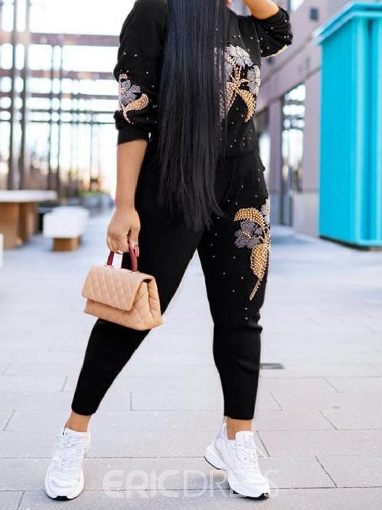 Ericdress Hoodie Floral Fashion Pullover Pencil Pants Two Piece Sets